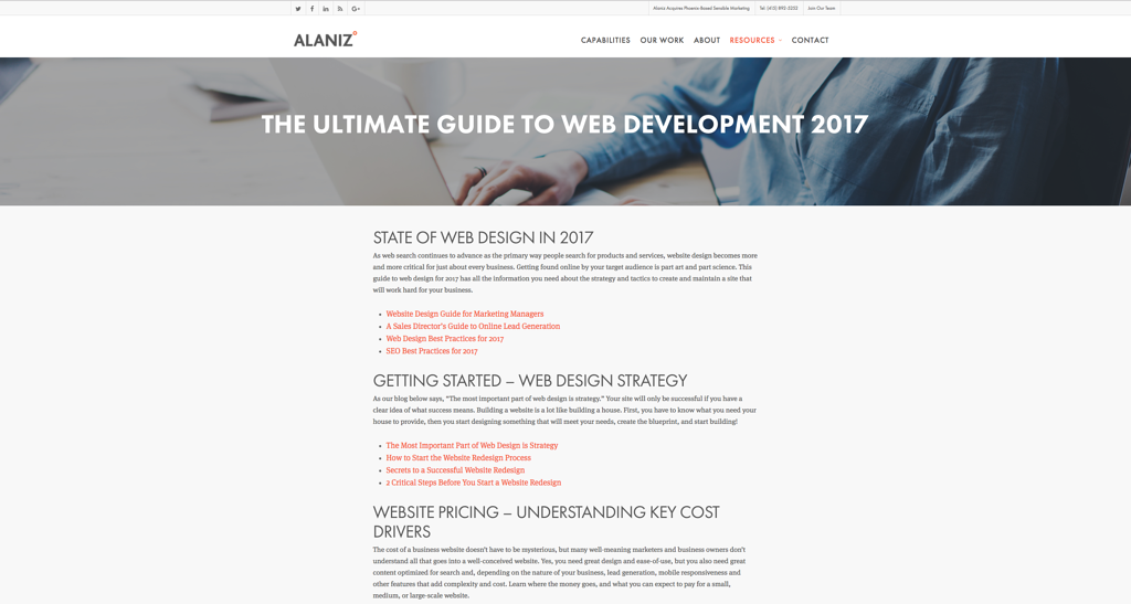 Alaniz Web Development Pillar Page