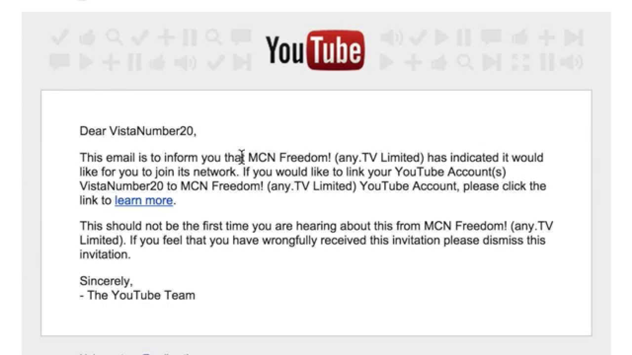 YouTube Network Invitation