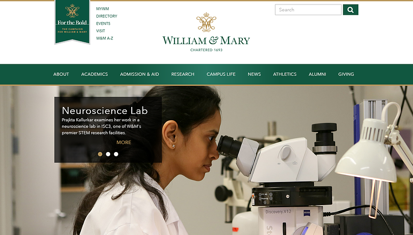 william and mary college homepage.png
