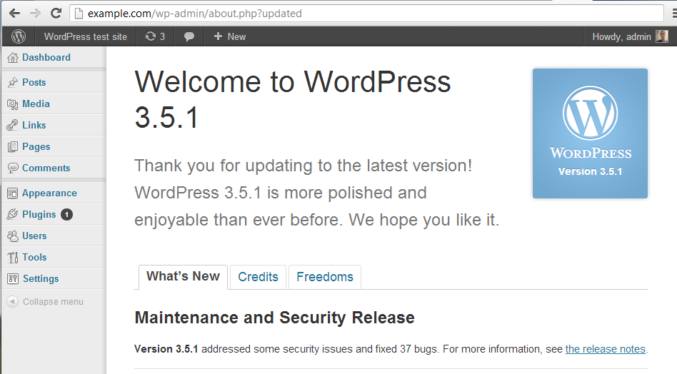 WordPress Version 3.5.1
